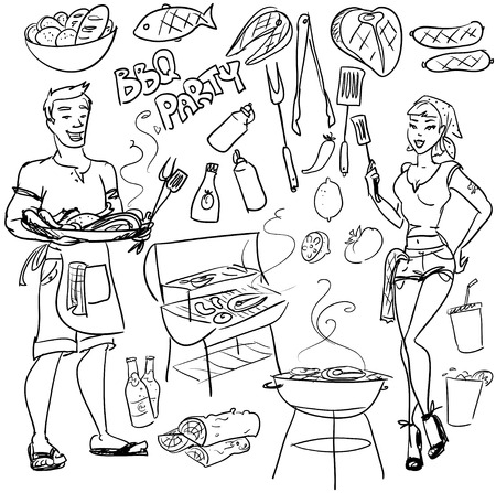 dinner party people: BBQ party - hand drawn vector
