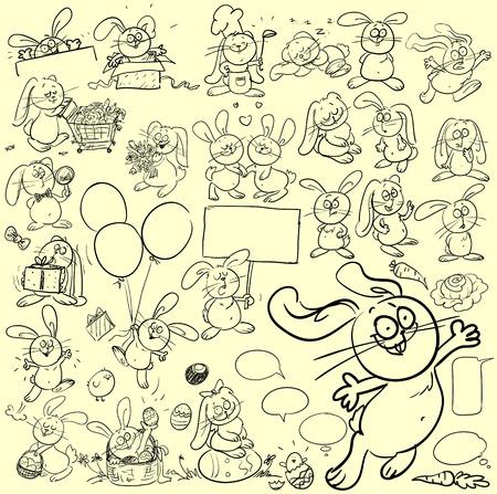 comic strip: Set of hand drawn cats.