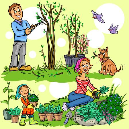 aves caricatura: Familia feliz en el jardín