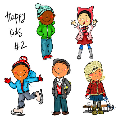 winter fashion: Happy Kids - part 2. Winter edition Illustration