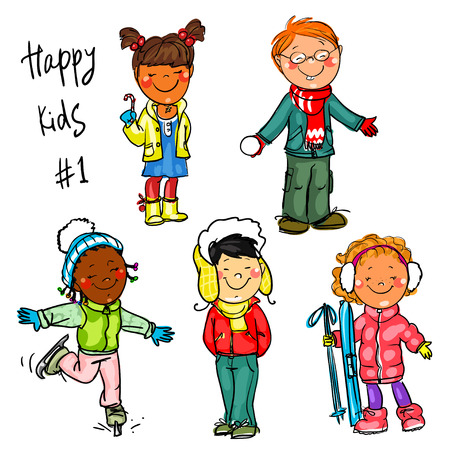 little boy and girl: Happy Kids - part 1. Winter edition Illustration
