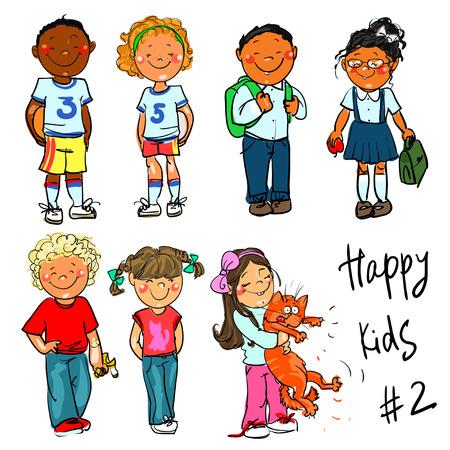 nene y nena: Niños felices - parte 2. Dibujado a mano clip-art.