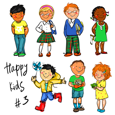 cute baby girls: Happy Kids - part 3. Hand drawn clip-art. Illustration