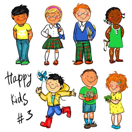 Niños felices - parte 3. Dibujado a mano clip-art. Foto de archivo - 41625553