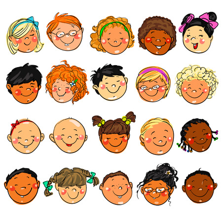 ethnicity happy: Happy Kids faces. Hand drawn clip-art.