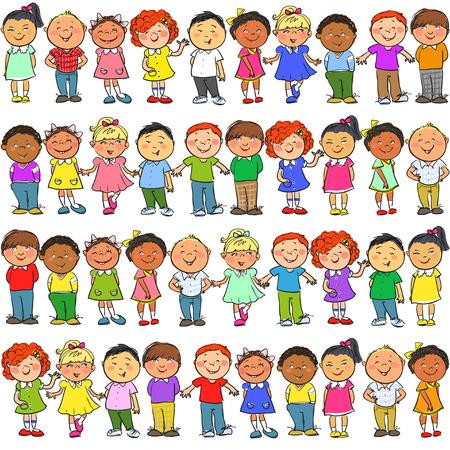 escuela caricatura: Patrón sin fisuras con los niños sobre el mismo
