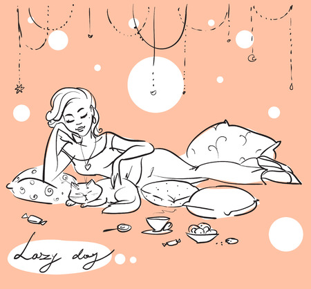 pleasure of reading: Pretty woman on a sofa or bed Illustration