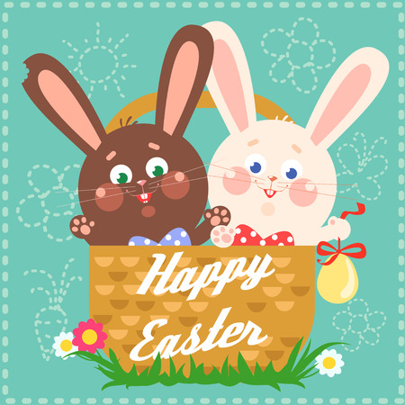Happy Easter card with easter bunnies Иллюстрация
