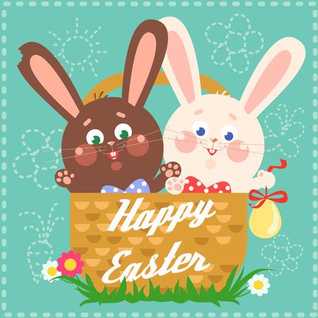 Tarjeta de Pascua feliz con los conejitos de pascua
