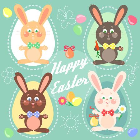 osterhase: Glückliche Ostern-Karte mit Häschen.