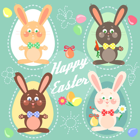 bunny cartoon: Happy Easter card with bunnies.
