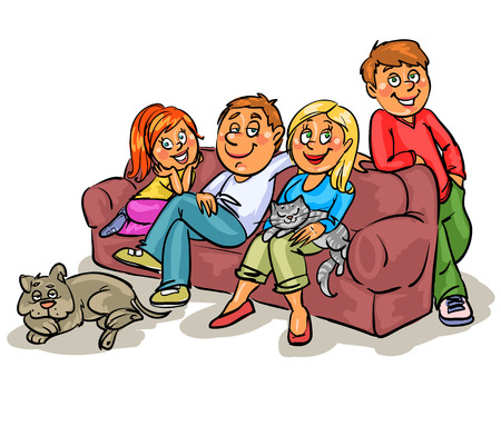 woman watching tv: Family on a sofa