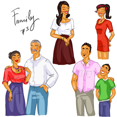 happy couple: Family members isolated, set 3 Illustration