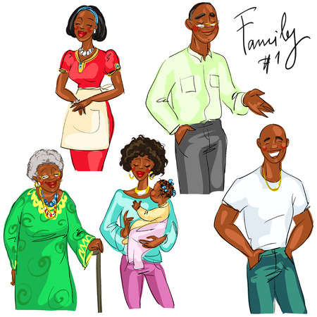 black family smiling: Family members isolated, set 1