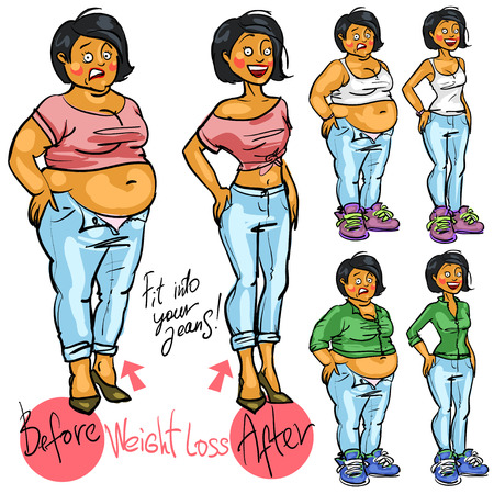 change size: Young woman before and after weight loss.