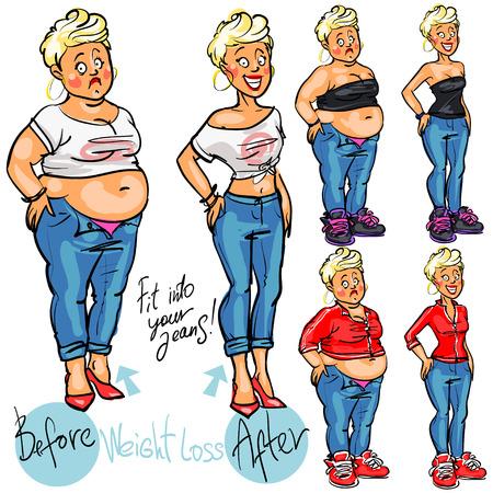 donne obese: Giovane donna prima e dopo la perdita di peso. Vettoriali