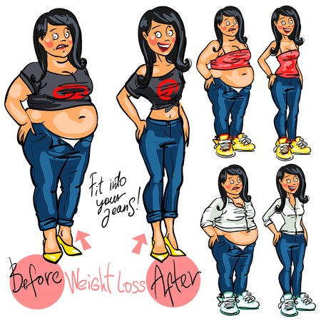 fat girl: Young woman before and after weight loss.