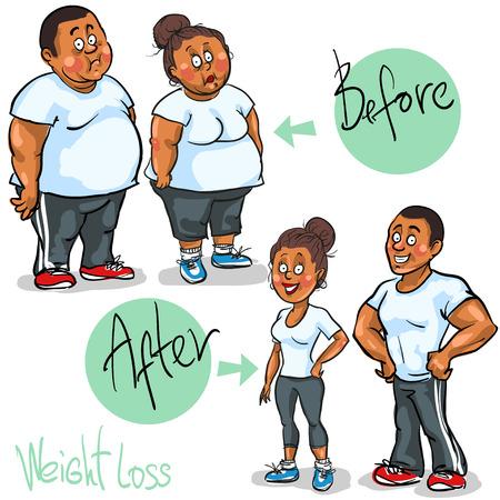 femme dessin: Homme et Femme atteindre leur objectif de perte de poids.