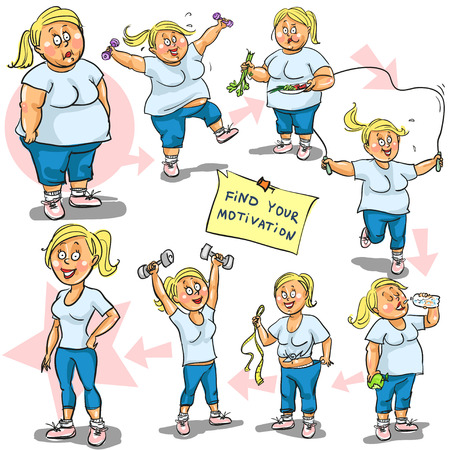 belly fat: Woman achieving her Weight-Loss goal. Illustration