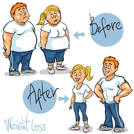 El hombre y la mujer alcanzar su meta para perder peso.