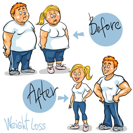 Man and Woman achieving their Weight-Loss goal. 版權商用圖片 - 41661737