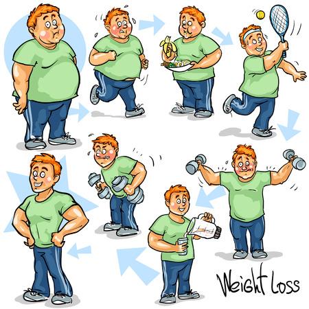 hombre flaco: El hombre alcanzar su meta para perder peso.