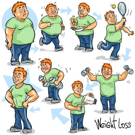 obese person: Man achieving his Weight-Loss goal.