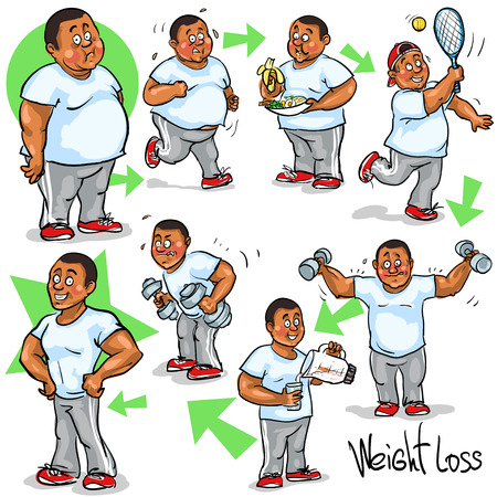 self improvement: Man achieving his Weight-Loss goal.