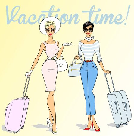 travelling: Beautiful women with travel bags, retro style 50s, 60s Illustration