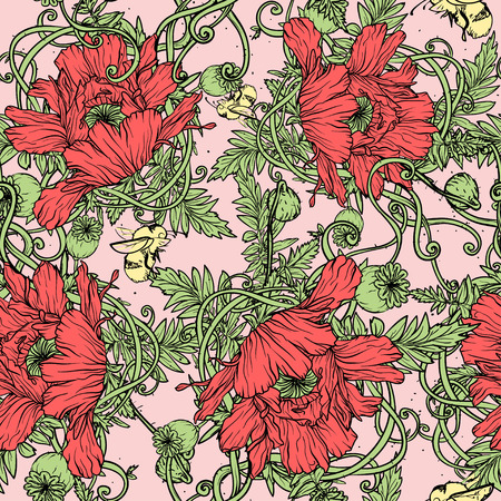 poppies: Floral seamless background with red poppies, vector Illustration