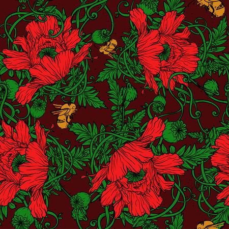 eleganz: Floral nahtlose Hintergrund mit roten Mohnblumen, vector