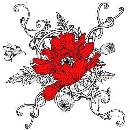 Coquelicots isolé sur blanc, dessiné à la main illustration vectorielle Banque d'images - 41780887