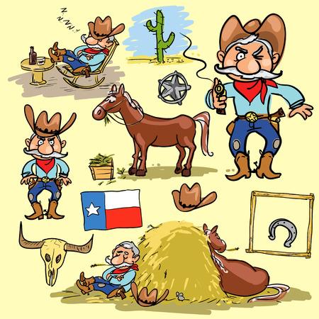 rodeo cowboy: Cartoon cowboy, hand drawn set of comic characters