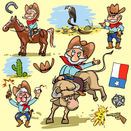 cowboy man: Cartoon cowboy, hand drawn set of comic characters