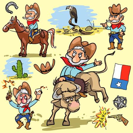 cactus cartoon: Cartoon cowboy, hand drawn set of comic characters