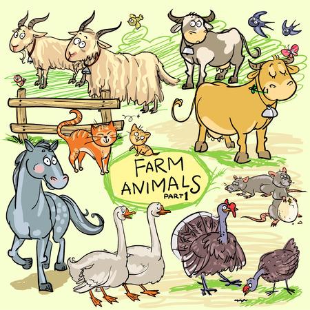 izole nesneleri: Çiftlik hayvanları ayarlayın. Bütün hayvanlar izole nesneleri ve hareket eder ve vektör biçiminde olan ayrılabilir. Çizim