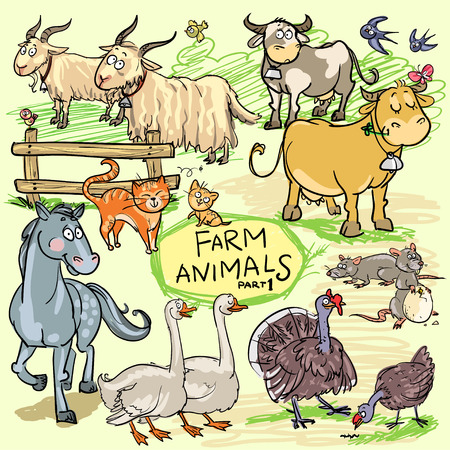 Farm animals set.  All animals are isolated objects and can be moved and separated within vector format.