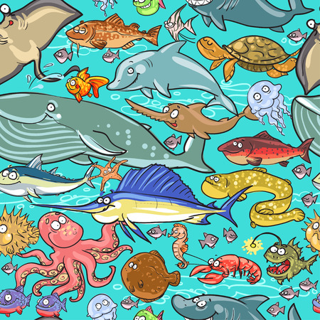 Sea and river animals pattern. Underwater life seamless background