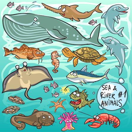 Zee en de rivier dieren - deel 1. Hand getekende cartoon zeeleven collectie Stock Illustratie
