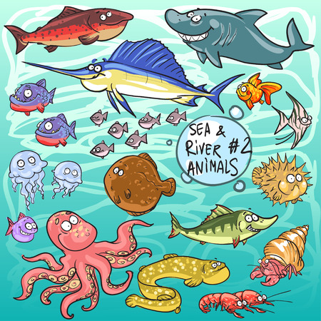 Sea and river animals - part 2. Hand drawn cartoon sea life collection Illustration
