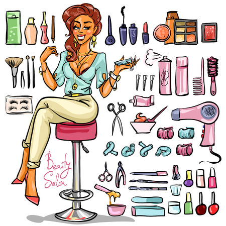 bimbo: Beauty Salon, Cartoon sexy woman with beauty supplies around. Hand drawn set Illustration