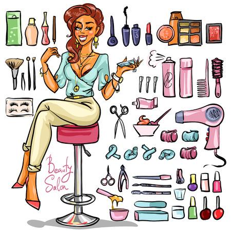 beauty shop: Beauty Salon, Cartoon sexy woman with beauty supplies around. Hand drawn set Illustration