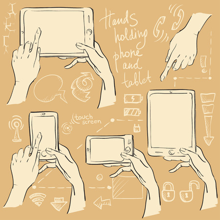 smartphone hand: Hands holding smartphone and tablet. Hand drawn set, sketch