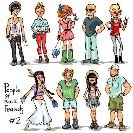 mujer hippie: Pueblo de Festivales Música rock. Mano dibujado personajes de dibujos animados, ajuste. Vectores