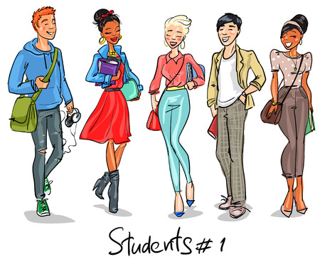 graduacion caricatura: Estudiantes - parte 1. adolescentes mano dibujada, grupo de j�venes, ajuste. Vectores