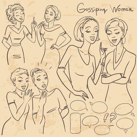 gossiping: Hand drawn gossiping girls, chatting women, sketch
