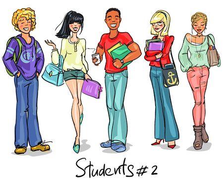 femme d affaire asiatique: Les �tudiants - Partie 2. adolescents tir�es par la main, groupe de jeunes, SET.