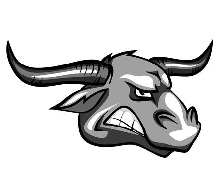 Bull mascot, team label design isolated on white