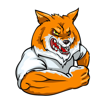 Red Fox mascot, team label design isolated on white