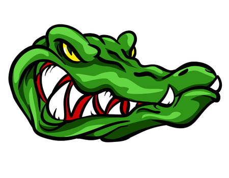 sport silhouette: Alligator mascot, team label design isolated on white